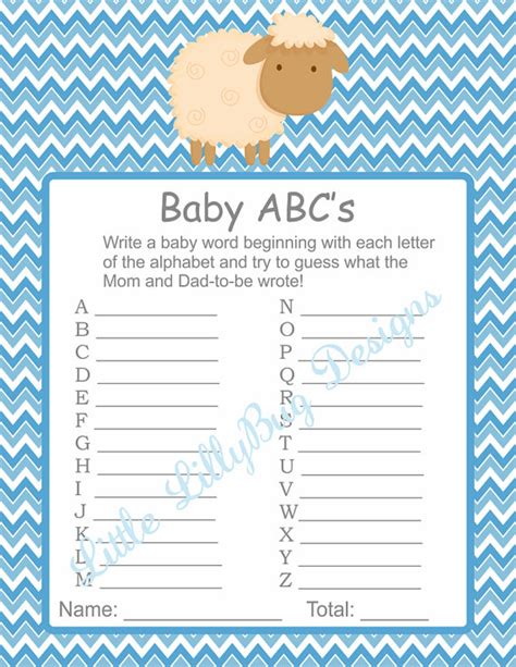 Free Printable Baby Shower A To Z by Boy Baby Shower Instant By Littlelillybugdesign