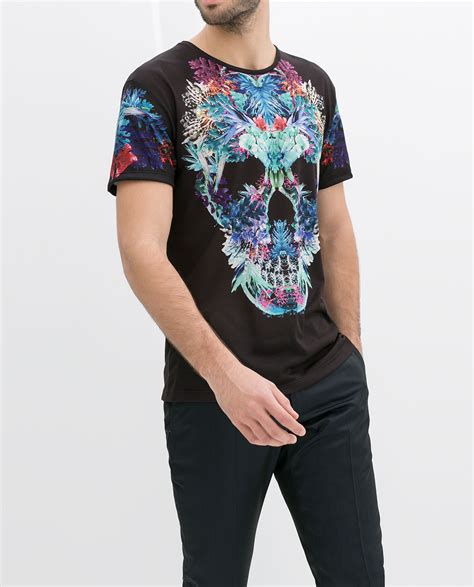 Zara Shirt Flower zara skull tshirt with flowers in black for lyst