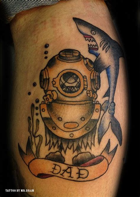 tattoo old traditional nautic ink dive mask and