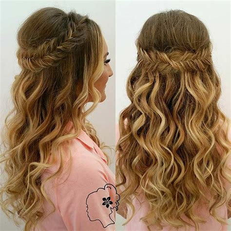 hairstyles curly and down 31 half up half down hairstyles for bridesmaids