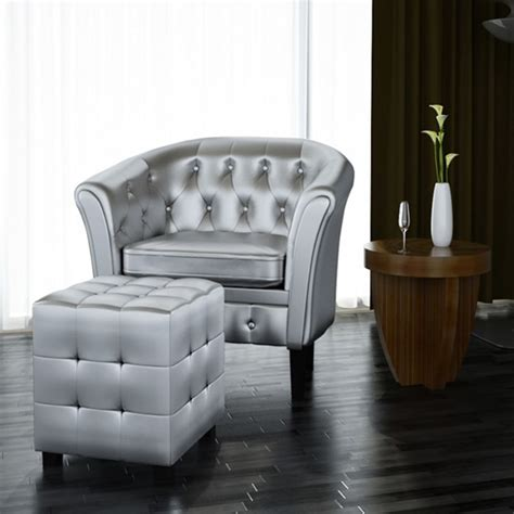 armchair with footrest artificial leather tub chair armchair with footrest silver