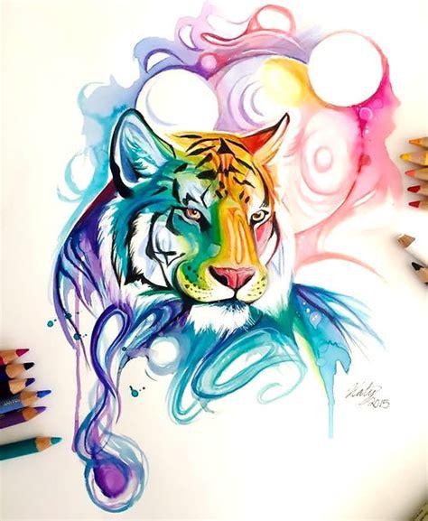 swirly colorful watercolor tiger portrait tattoo design