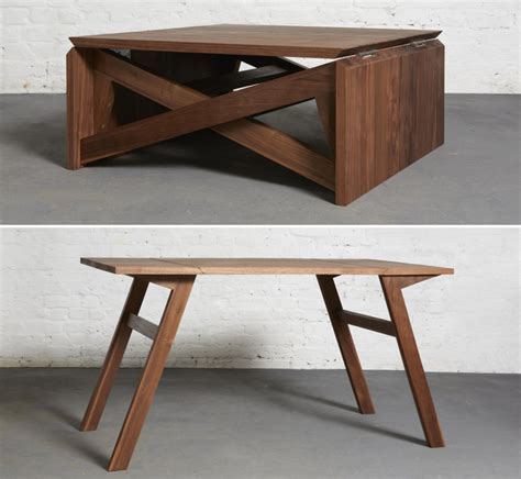 this coffee table turns into a dining table in seconds