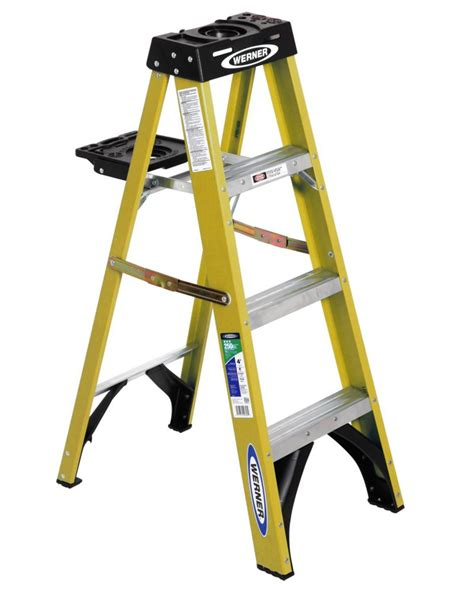 werner 4 fibreglass g2 stepladder with tray the