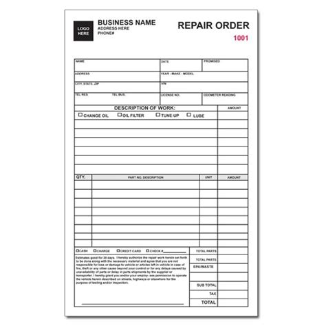 Auto Repair Invoice Work Orders Custom Carbonless Printing Designsnprint Repair Shop Work Order Template