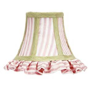 pink chandelier shades ruffled pink white stripe with green trim