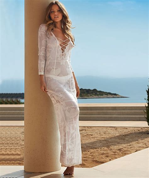 Designer Swimwear For Holidays by Odabash Lene Silver Crochet Maxi Dress Designer
