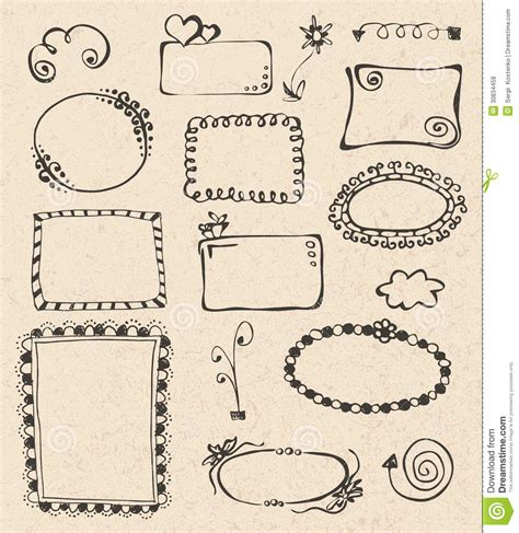 frame design in paper frames and design elements collection hand drawn royalty