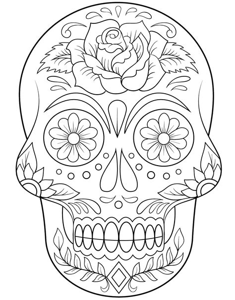 day of the dead coloring pages flowers calavera outline getting crafty pinterest outlines