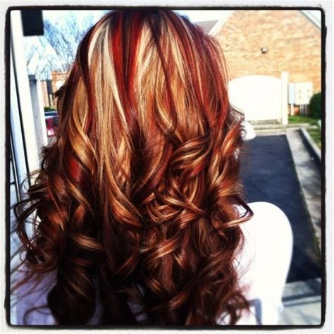 are chunky or thin highlights popular for 2015 red and blonde highlights on brown hair google search by