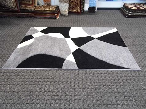 black and white pattern area rug modern abstract pattern gray black white shag rug with