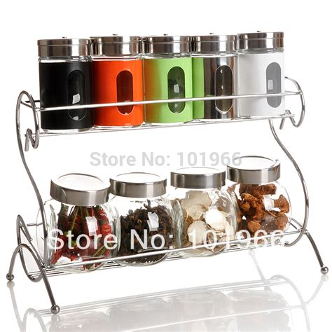 Wholesale Spice Racks by Free Shipping 9 Colorful Spice Jars Bottles With 2