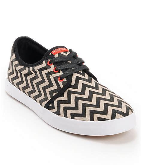 dekline river black white chevron canvas skate shoe at