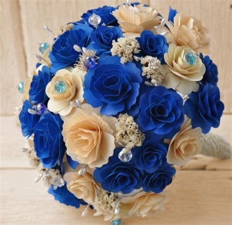 Wooden Bouquet   Royal Blue and Ivory   AccentsandPetals   Wedding on ArtFire