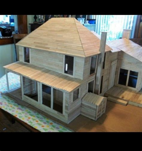 I Want To Create A Popsicle Stick House Someday Craft Popsicle House Plans