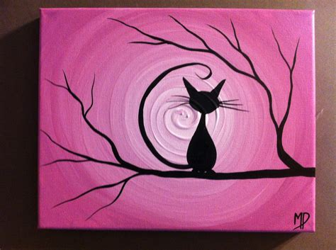 diy cat painting black cat painting etsy happy
