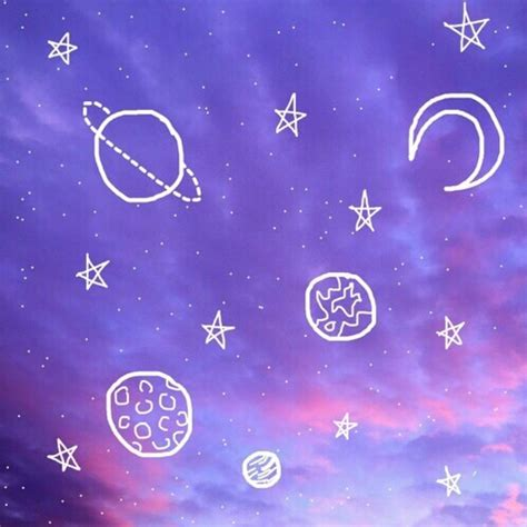 aesthetic, blue, outer space, outlines, pink image