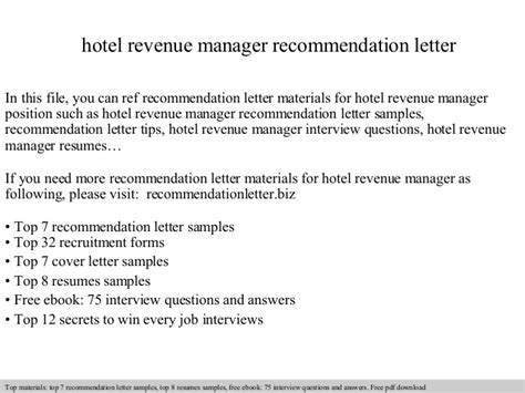 Revenue Officer Cover Letter by Hotel Revenue Manager Recommendation Letter