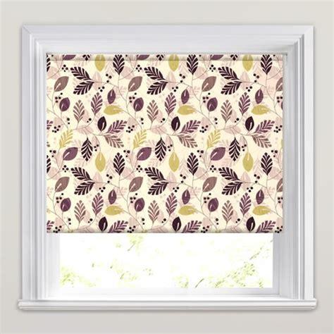 modern roller blinds patterned purple plum lime green brown beige leaves patterned