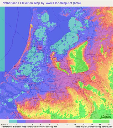 netherlands contour map netherlands elevation and elevation maps of cities