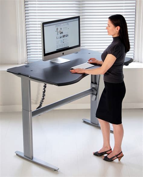 Computer Desk Standing Motorized Or Crank Adjustable Level2 Standing Desk With Single Surface Design Biomorph