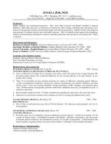 Resume For Doctors by Doctor Curriculum Vitae Exle Resume Cover Letter Exle