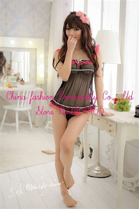 Kely Sleep Wear Transparant Babydoll G String Promo black mesh feminine transparent lace dress g string babydoll sleepwear