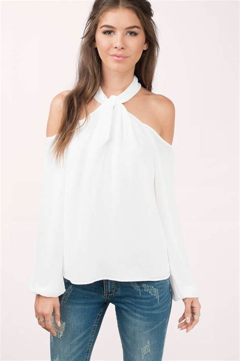 Shoulder Blouse And by Ivory Blouse White Blouse High Neck Blouse Ivory Top