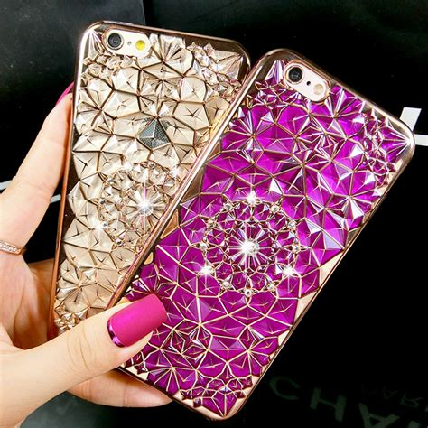 Luxury 3d Phone For Iphone 7plus aliexpress buy new luxury 3d electroplating flowers rhinestone bling soft tpu phone cases