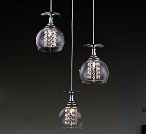 Modern G4 Glass Shade Crystal Pendant Lights Restaurant Contemporary Pendant Lighting Fixtures