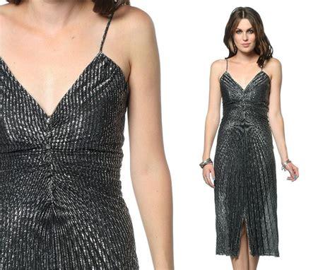 Accordion Spaghetti Dress disco black silver dress 70s gown accordion pleated