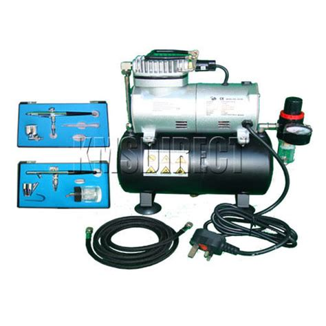 foxhunter as 186 complete airbrush kit compressor with tank nail tatoo ebay