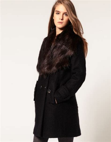asos collection asos coat with oversized faux fur collar