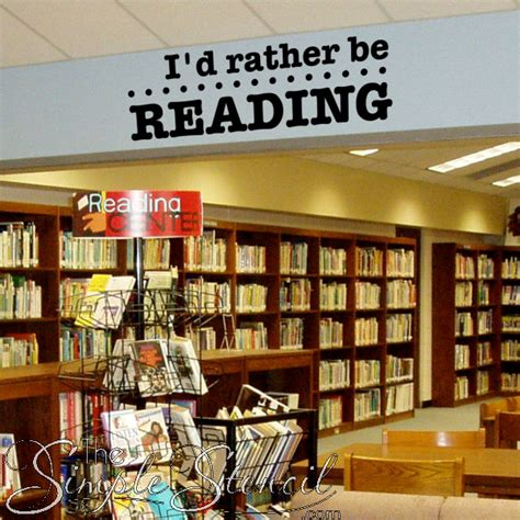 wall decor for library i d rather be reading vinyl wall lettering decal home