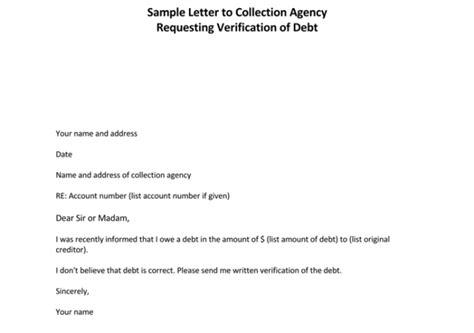 Debt Collection Verification Letter