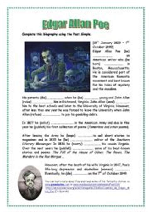 edgar allan poe biography worksheet english worksheet edgar allan poe
