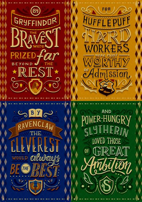 harry potter house traits hand lettered posters featuring each hogwarts house manifesto favriver