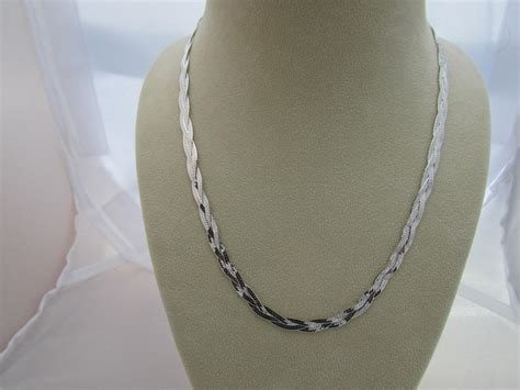 sterling silver necklace braided necklace herringbone