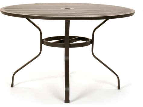 Umbrella Patio Table Caluco San Michele Aluminum 48 Metal Dining Table With Umbrella 710a 48