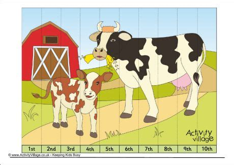 printable number jigsaw puzzles cows jigsaw ordinal numbers