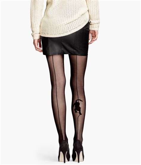 patterned tights h m h m patterned tights in black lyst