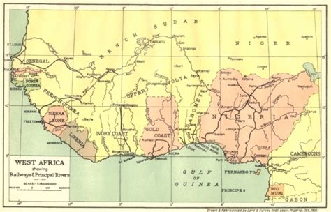 map of west africa nigeria west africa showing railways principal rivers 1936 map