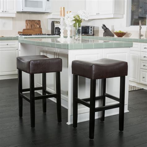 backless brown leather counter stools set of 2 adler brown leather backless bar stool great