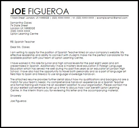 formal email format in spanish resume exles templates spanish teacher cover letter no