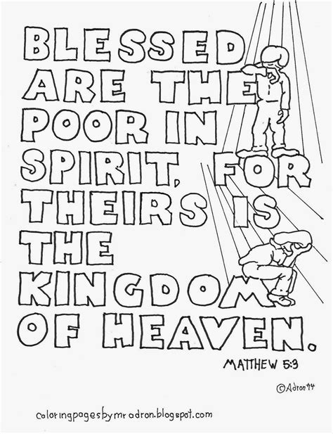 poor in spirit beatitudes coloring page coloring pages