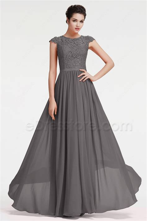 Dress Grey modest charcoal grey bridesmaid dresses cap sleeves