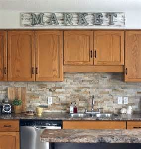 Ak Cabinets How To Make A Galvanized Market Sign Stone Backsplash