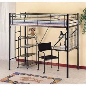 Metal Bunk Bed With Desk Underneath Bunk Bed Black Metal Bunk Bed W L Desk Chair And Bookcase