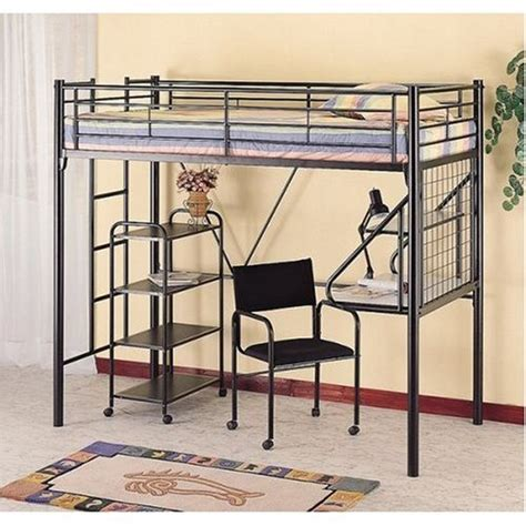 bunk bed black metal bunk bed w l desk chair