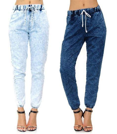 Ziya Jogger Pant Acid Joger Blue Jean acid wash comfortable drawstring pockets made in usa 11034 denim joggers denim jogger